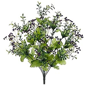 "19"" Purple Wild Baby's Breath Mixed Bush Greenery Filler Silk Wedding Flowers Plant Decor 8"