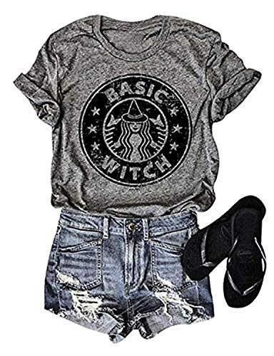 NATAY Womens Basic Witch Letters Print Short Sleeve O-Neck Casual T Shirt Tops Blouse (Grey, L) -