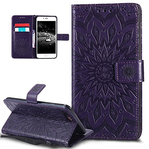 iPhone 8 Plus Case,iPhone 7 Plus Case,ikasus Embossing Mandala Flower Sunflower PU Leather Magnetic Flip Folio Kickstand Wallet Case with Card Slots Case for Apple iPhone 8 Plus / iPhone (Playing Cards Designer Buttons)