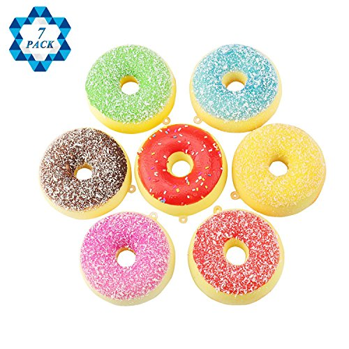 SOTOGO 7 PCS Squishy Donuts Slow Rising Squishy Charms Kids Toys Gift Party Favors Supplies