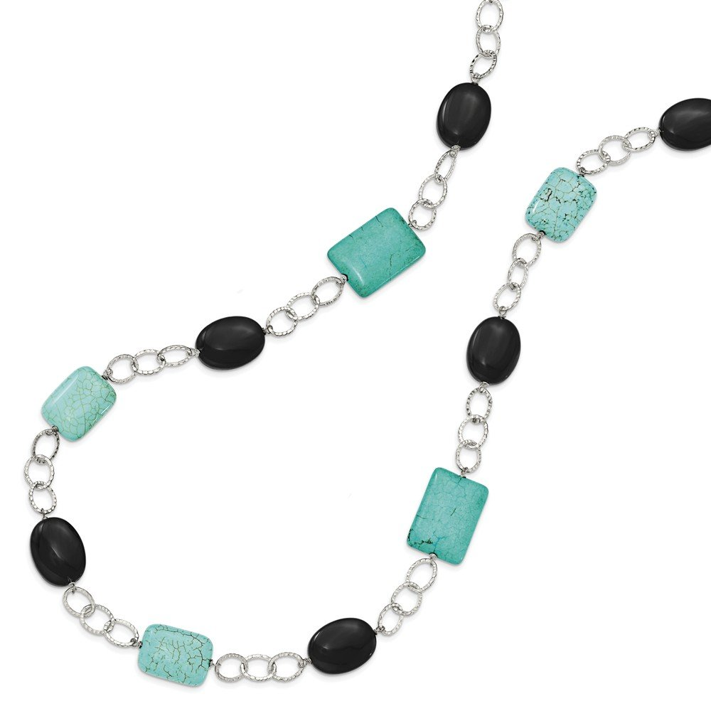 925 Sterling Silver Black Agate Dyed Blue Howlite Chain Necklace Pendant Charm Natural Stone Fine Jewelry Gifts For Women For Her