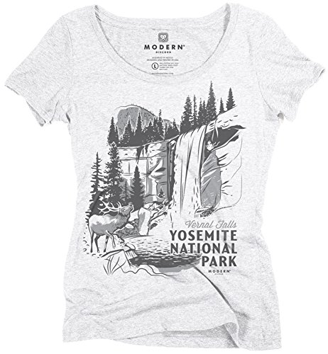 Superluxe Clothing Womens Vintage 60s Style California Vernal Falls Yosemite National Park Girls Tri-Blend Summer Camping Hiking Scoop Neck T-Shirt, Heather White, X-Small
