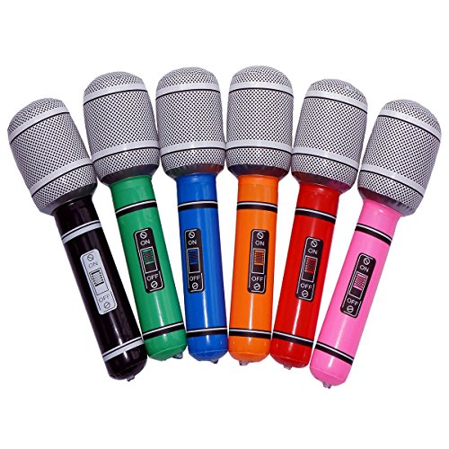OULII Inflatable Microphones Plastic Microphone Kids Party Favor Toy Gift, 6-Pack, Random Color]()