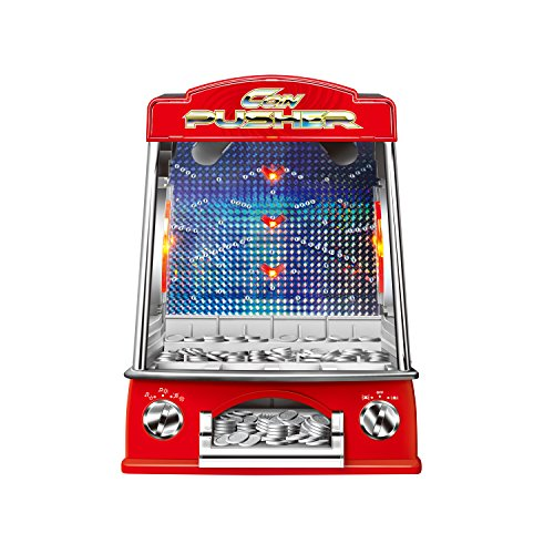 Toydaloo Mini Coin Pusher Home Arcade Game with Lights and Sounds, Includes 150 Play Coins