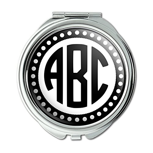 Custom Compact Mirrors (Graphics and More Personalized Custom Compact Purse Mirror - Monogram Circle Font Scalloped)