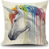 YOUR SMILE Unicorn Cotton Linen Square Decorative Throw Pillow Case Cushion Cover for Sofa 18x18 Inch