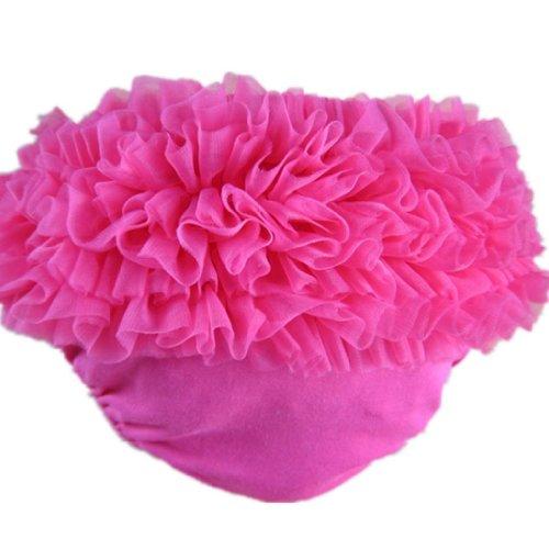 Buenos Ninos Baby Girl's Cotton Shorts and Briefs Chiffon Ruffle Bloomers Hot Pink XL