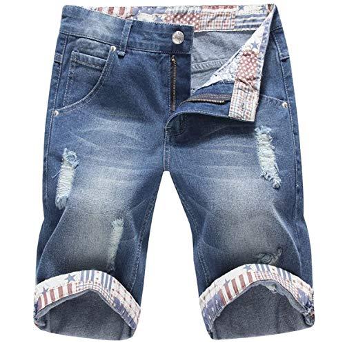 Jeans Corti Da Uomo Pantaloncini Estate Vintage Casual Fashion Giovane Di Distrutti Pantaloni Bermuda Pocket Style Blau