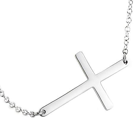 "Sterling Silver Rhodium Curved Sideways CZ Cross Necklace 16/""-18/"" Adjustable"
