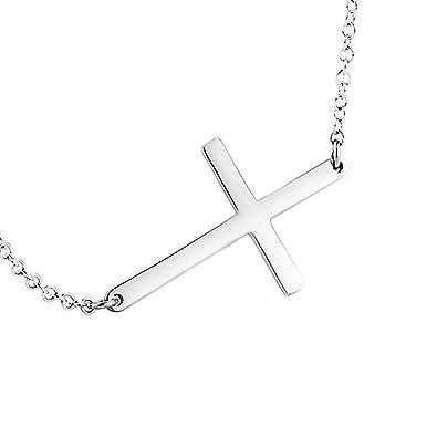 7986ad4fa15f63 Amazon.com: LEMONDROP 925 Sterling Silver Sideways Cross Necklace 16 ...
