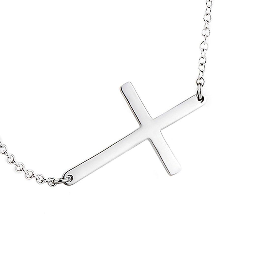 LEMONDROP 925 Sterling Silver Sideways Cross Necklace 16'' + 2''