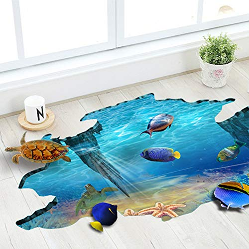 3D Floor Stickers PVC Underwater World Wall Stickers Vinyl Decal Fish Sea Turtle Decor Bathroom Floor Sticker Nursery Bedroom - Decal Vinyl Floor