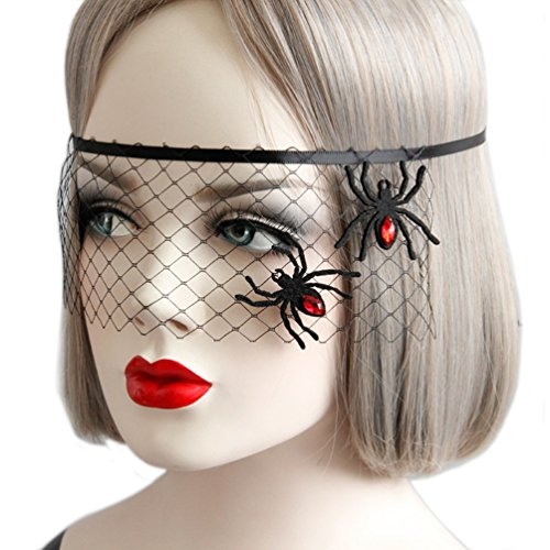 Masquerade Womens Costumes Mysterious (Women Girls Sexy Black Lace Veil Cover Half Face Costume Mask for Halloween Xmas Masquerade Party)