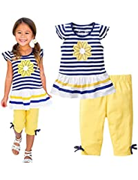0a855b73e6e8 Baby Girl Summer Casual Clothing Suit Short Sleeve Striped T-Shirt +Pants