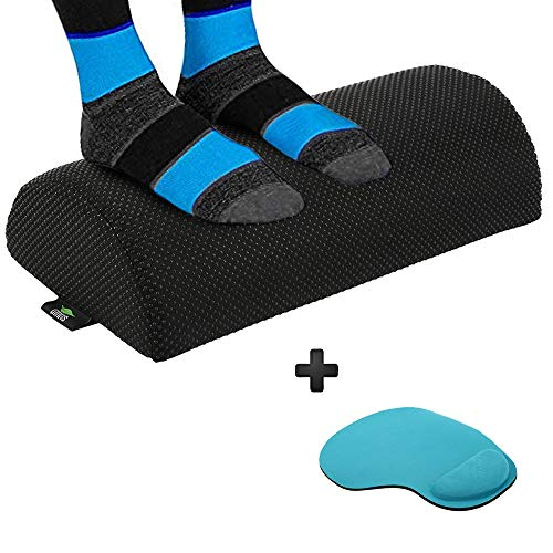 (Ergonomic Foot Rest Under Desk Cushion - Resilient Comfort Foam, Design to Relieve Knee Sore and to Optimum Leg and Hip Pain Clearance. Footrest with Non-Slip Lower Surface, Ideal for Office and Home.)