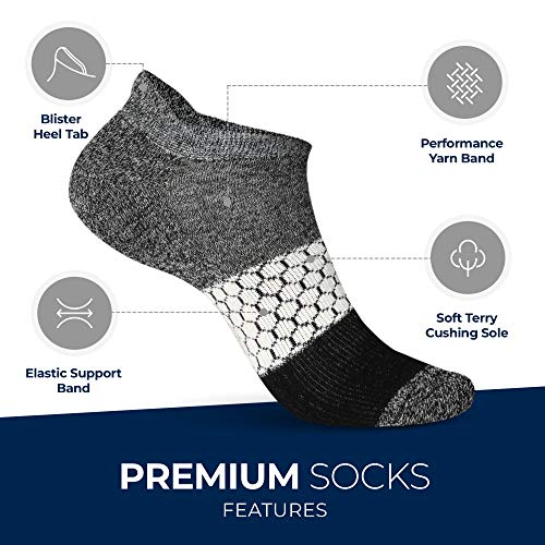 Athletic Socks for Women - Ladies Ankle Socks - No Show Low Cut Sports Running - 6 Pack