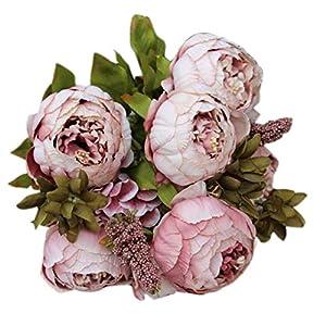 Artificial Flower,Sunbona 8 Heads Silk Plastic Artificial Fake Peony Bouquet Vine Flowers for Home Garden Hotel Office Wedding Party Decoration (Khaki) 26