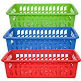 RTD Trading Company 3-Piece Set of Plastic Rectangular Slotted Baskets for Home or School