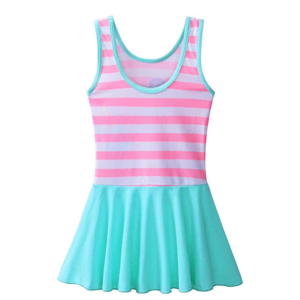 BAOHULU Toddler Girls Swimsuit One Piece Cute Floral Dress Swimwear 3-8 Years (5-6Y, PinkStripes) by BAOHULU