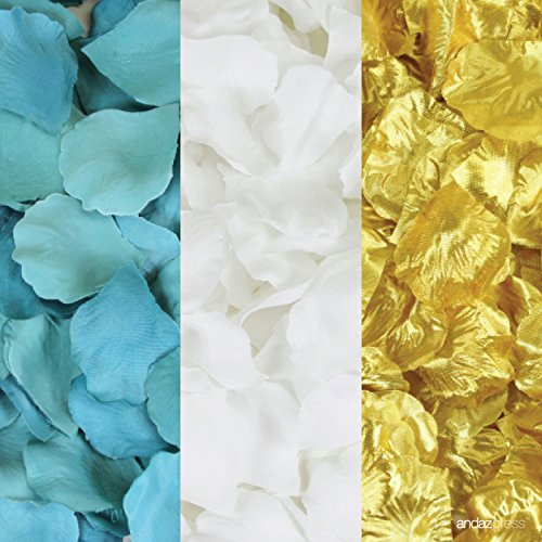 Andaz Press Silk Fabric Rose Petals Table Decorations, Aqua, White, Gold, 600-Pack, Colored Wedding Baby Bridal Shower Party Supplies