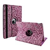Cover Case for iPad Air 2,elecfan 360 Degree Rotating Stand PU Leather Floral Case Protective Flip Folio Cover for Apple 9.7 Inch iPad Air 2 - Light Purple