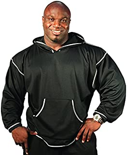 product image for Physique Bodyware Men's V-Tapered Bodybuilder Hoodie. Made in USA (Big: 175-200 lbs, Iron Black)