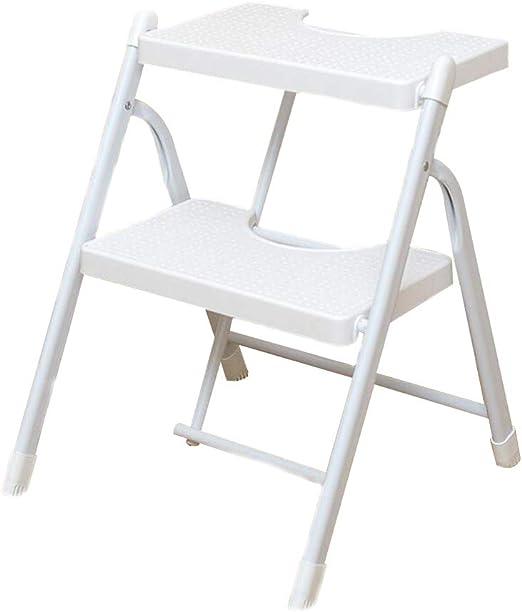 Bseack_store Escalera Taburete, Escalera 2 Pasos PP Pedal de plástico Plegable del Taburete Escalera de Doble propósito multifunción Cambiar Hogar Zapatos Ascendente (Color : Blanco): Amazon.es: Hogar