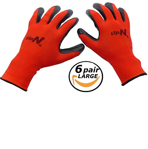 UpNorth 13 Gauge Polyester Knit Work Gloves, Textured Rubber Nitrile Palm Dipped/Coated for Construction, 6-Pairs, Men's Large (Gloves Rubber Palm Coated)