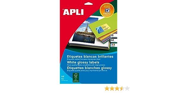 APLI 2926 - Etiquetas blancas calidad foto 199,6 x 289,1 mm 10 hojas: Amazon.es: Oficina y papelería