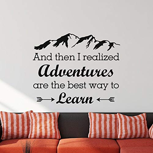 Liedes Wall Stickers Art Decor Vinyl Peel and Stick Mural Removable Decals and Then I Realized Adventures are The Best Way to Learn Home Decor Room Decor (Best Way To Learn Quran)