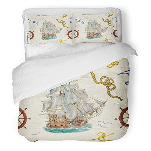 (Emvency Decor Duvet Cover Set Full/Queen Size Vintage with Old Sailing Pirate Ship Steering Wheel Flying Gulls and and Sea Knots 3 Piece Brushed Microfiber Fabric Print Bedding Set Cover)