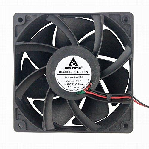 GDSTIME Dual Ball Bearing Big Air Flow High Speed Preesure 4500rpm 12038 12cm 120mm X 38mm 5 Inch 12v Dc Cooling Fan (High Speed Bearing)