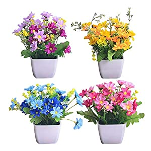 Lorchwise Artificial Flower Set Artificial Orchid Chrysanthemum - Small Potted Plant Home Accessories 113