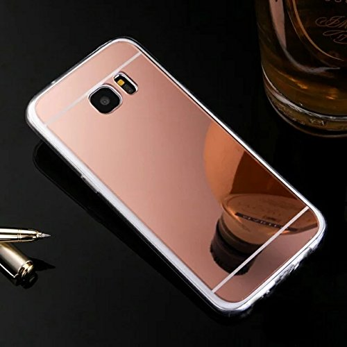 Galaxy S7 Case,HAOTP(TM) Beauty Luxury Trendy Glitter Vibrant Cute Fashion Hybrid Soft TPU Mirror Cover Case for Samsung Galaxy S7 (Rose Gold)