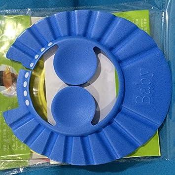 Blue Kids Children Shower Shampoo Hat Hair Shield Adjustable Baanuse Baby Bath Cap