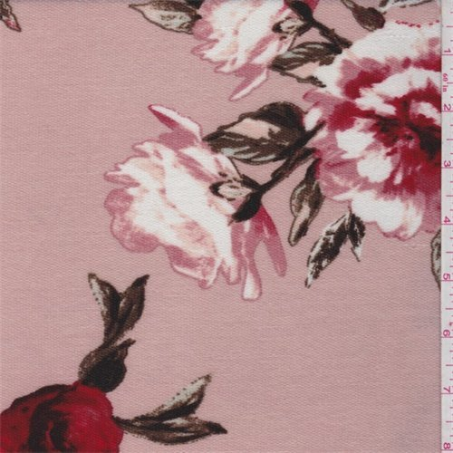 Pink Beige Floral Pique Knit, Fabric By the Yard