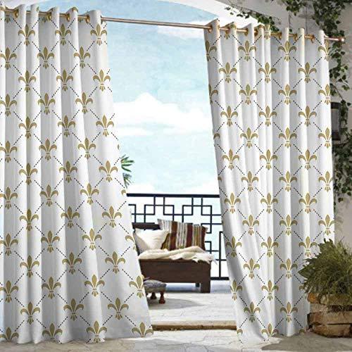 DILITECK Custom Outdoor Curtain Fleur De Lis Fleur De Lis Pattern Vintage Stylized Lily Flower Royal Symbol Artistic Design for Patio/Front Porch W72 xL96 White ()