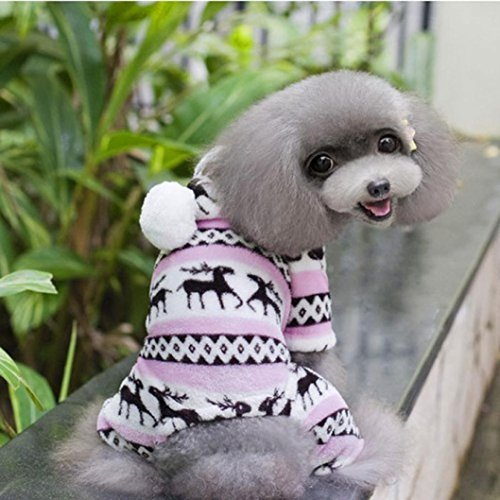 Image of HP95(TM) Small-Size Dog Jumpsuit, Pet Cartoon Printed Velvet Pajamas Small Dog Cat Jumpsuit Coat Sweater Clothes (Pink, XXL (Length:15.8
