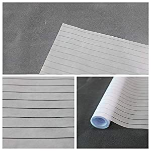 Qualsen Privacy Window Film Stripe Window Glass Films Non-Adhesive Static Cling Window Stickers for Meeting Room Home Office, Narrow Stripe, 17.7 x 78.7 inch
