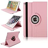 iPad Pro 9.7'' Flip Case, TechCode 360 Degrees Rotating Magnetic PU Leather with Smart Stand Case Protective Tablet Cover for Apple iPad Pro 9.7 inch 2016 Release Tablet(Pink)