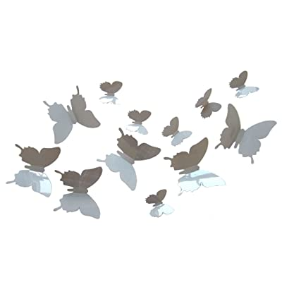 ALLICERE 12Pcs 3D Butterfly Removable Wall Decals DIY Home Decorations Art Decor Wall Stickers Murals for Babys Kids Bedroom Living Room Classroom Office(Color:Gray): Home & Kitchen