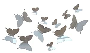 CuteProduct 12Pcs 3d Butterfly Removable Wall Decals Diy Home Decorations Art Decor Wall Stickers Murals for Babys Kids Bedroom Living Room Classroom Office(Color Gray)