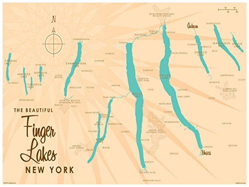 Finger Lakes New York Map Vintage-Style Art Print by Lakebound (18