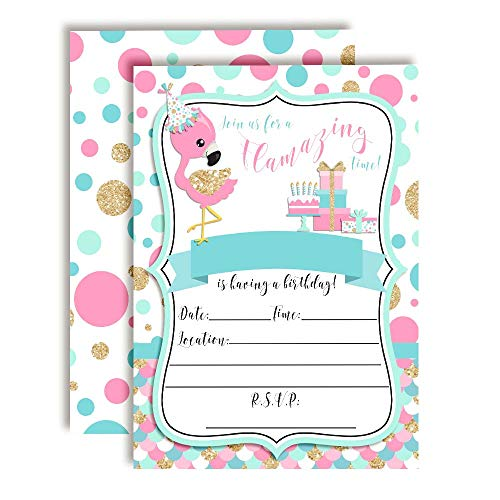 Flamazing Pink Aqua & Gold Glitter Polka Dot Flamingo Birthday Party Invitations for Girls, 20 5