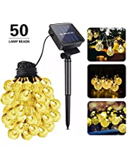 Guguda Solar String Lights, 50LED 8 Modes Outdoor Waterproof Solar Powered Garden Crystal Ball String Lights 22ft Decorative Lighting for Patio Chrismas Tree Wedding Patio Holiday Parties(Warm White)