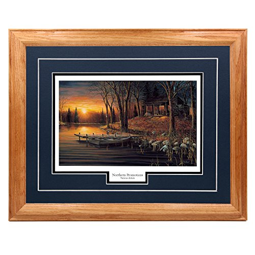 Sunset Dock - Simple Pleasure - Jim Hansel, Sunset Cabin Dock and Nature Classic Wall Art Print for Home/Office/Hotel/Cabin/Gift, 17 x 21 in, Blue Mat/Light Oak Frame - More Frames Available
