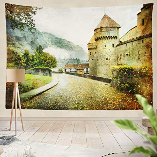 ASOCO Tapestry Wall Handing Swiss Castle Artistic Picture