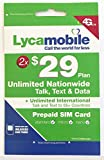 Lycamobile Preloaded Sim Cards With $29 Plan Include 2 Month Service With Unlimited Talk,Text, 1GB 4GLTE Data offers