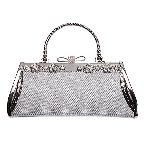 Vintage Shell Buttons (Women Clutch Bag Rhinstone Decorative Vintage Classic Evening Shoulder Bag Exquisite Girls Ladies Silver Glistening Shell Handbag Hard Cover Purse For Weddings Parties Ceremony Daily Use)