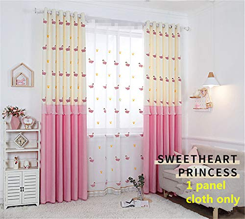 WPKIRA Pink Embroidered Swan Stitching Lace Curtain for Kids Room Thermal Insulated Panels Beautiful Birds Princess Curtains for Girls Bedroom 1 Panel W40 x L63 inch